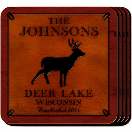 Personalized Cabin Coaster Set - Stag