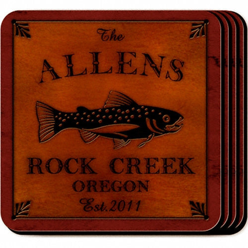 Personalized Cabin Coaster Set - Trout