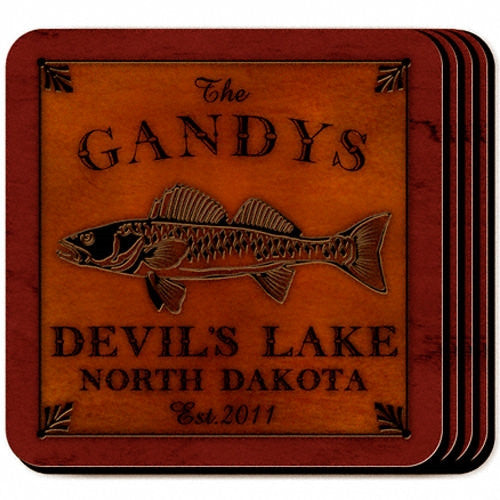 Personalized Cabin Coaster Set - Walleye