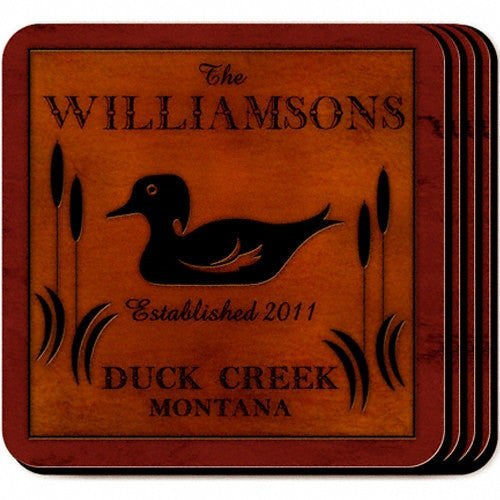 Personalized Cabin Coaster Set - Wood Duck
