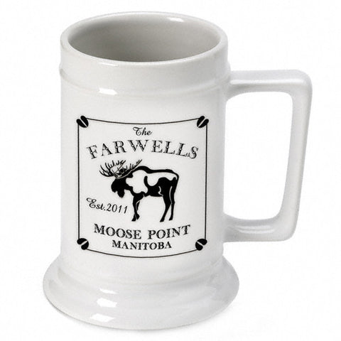 Personalized Cabin Beer Stein - Moose