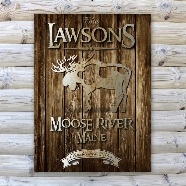 Personalized Rustic Wood Grain Cabin Canvas Print - Moose