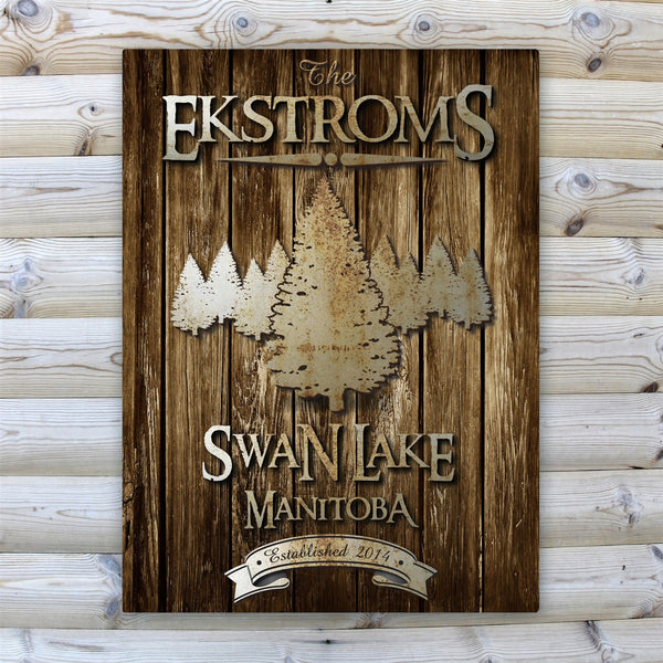 Personalized Rustic Wood Grain Cabin Canvas Print - Spruce