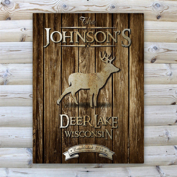 Personalized Rustic Wood Grain Cabin Canvas Print - Stag