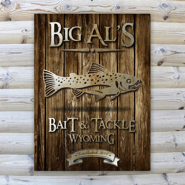 Personalized Rustic Wood Grain Cabin Canvas Print - Trout