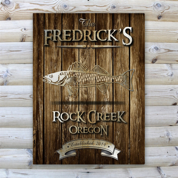 Personalized Rustic Wood Grain Cabin Canvas Print - Walleye