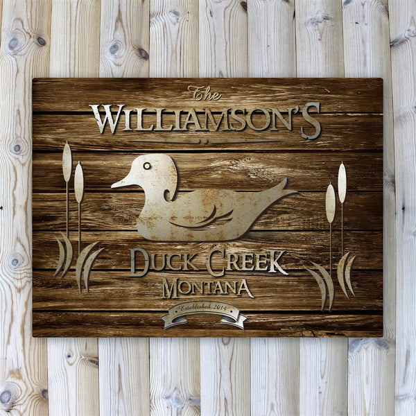 Personalized Rustic Wood Grain Cabin Canvas Print - Wood Duck