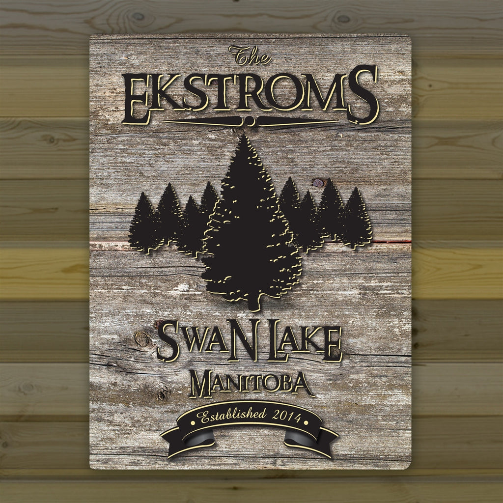 Personalized Weathered Wood Grain Cabin Canvas Print - Spruce