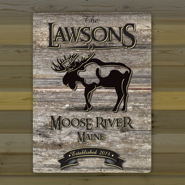 Personalized Weathered Wood Grain Cabin Canvas Print - Moose
