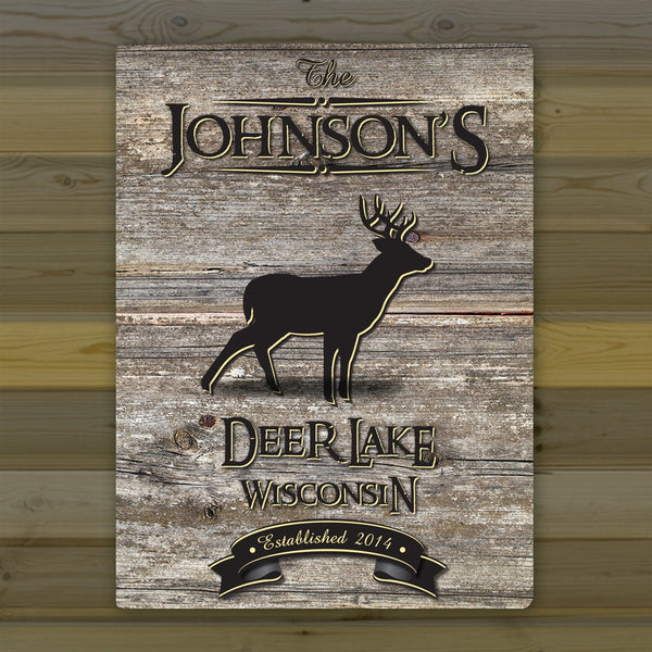 Personalized Weathered Wood Grain Cabin Canvas Print - Stag