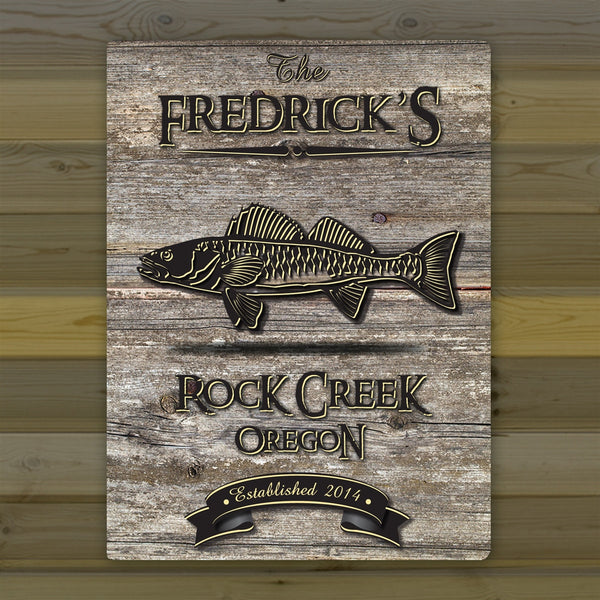 Personalized Weathered Wood Grain Cabin Canvas Print - Walleye