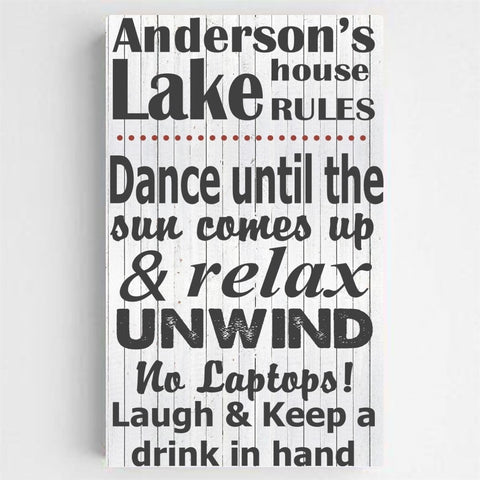 Personalized Lake House Canvas Print - Black on White