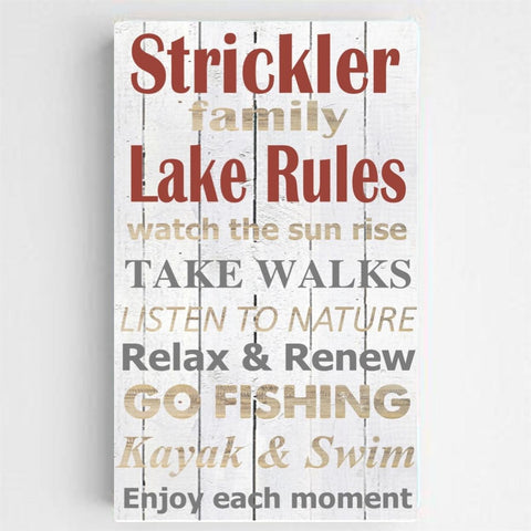 Personalized Family Lake Rules Canvas Print -White Background
