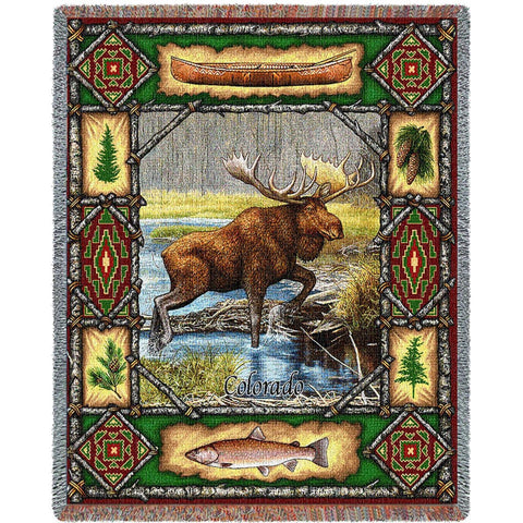 Moose Lodge Tapestry Throw Blanket