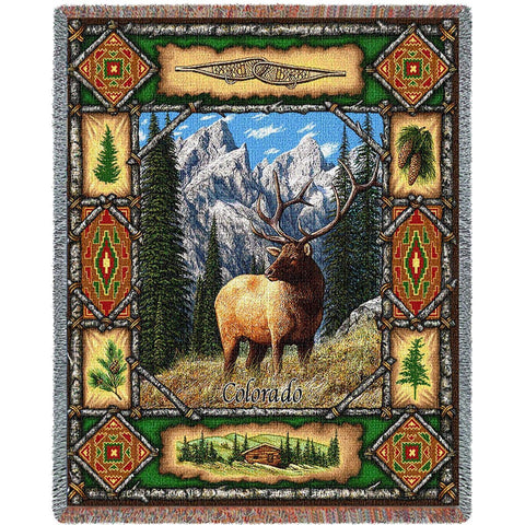 Elk Lodge Tapestry Throw Blanket