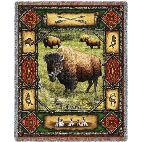 Buffalo Lodge Tapestry Throw Blanket