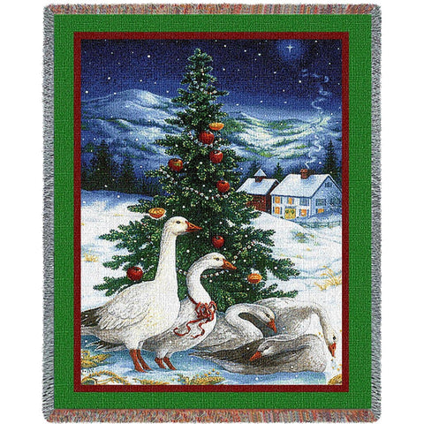 Christmas Goose Tapestry Throw Blanket