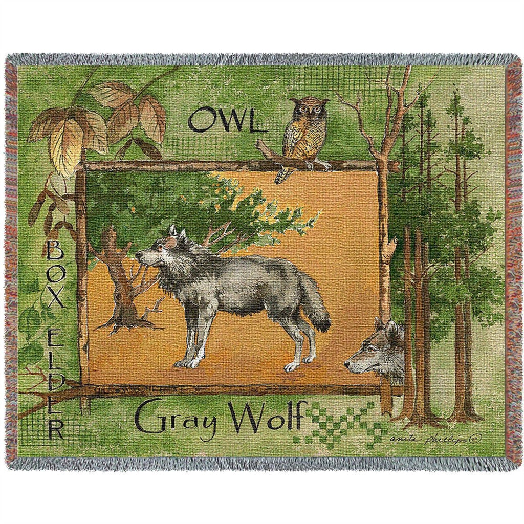 Gray Wolf Tapestry Throw Blanket