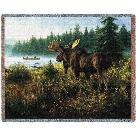 In His Domain Moose Tapestry Throw Blanket