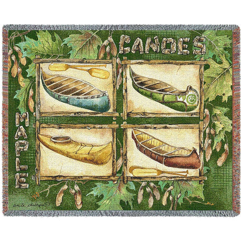 Canoes Tapestry Throw Blanket