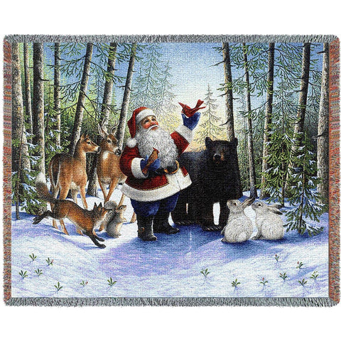 Santa In The Forest Tapestry Throw Blanket