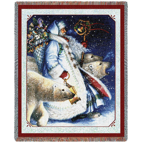 Santa and Polar Bears Tapestry Throw Blanket