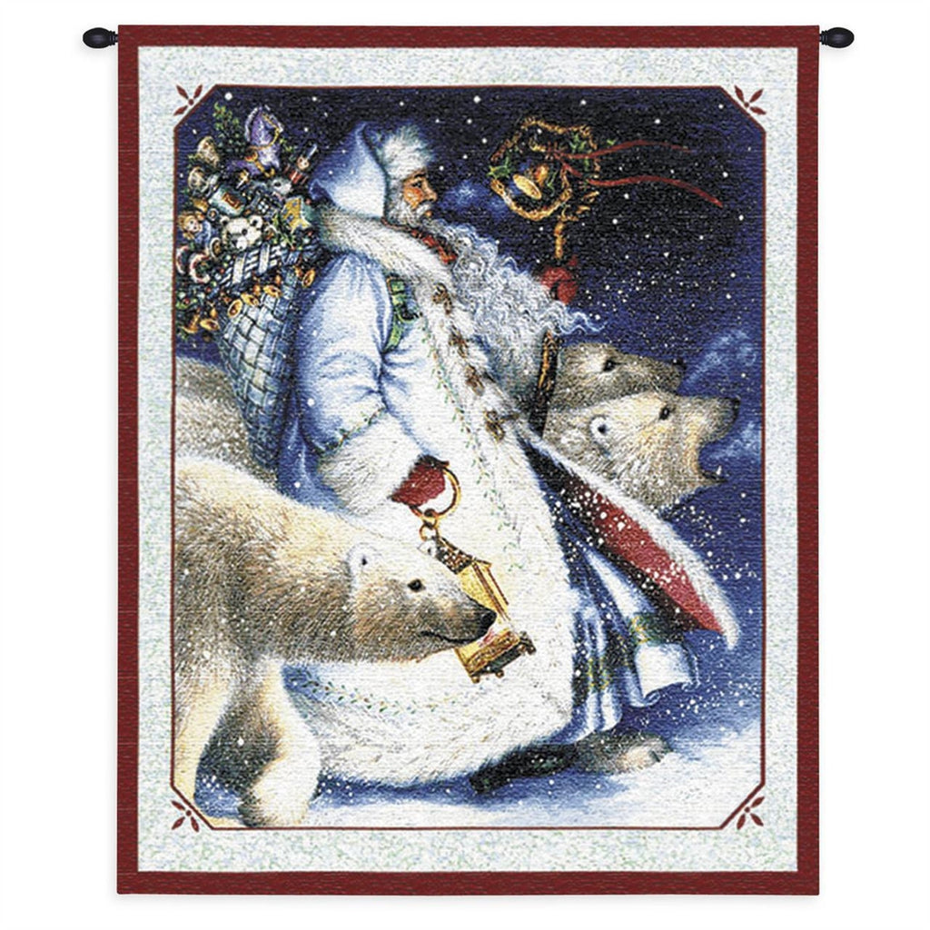 Santa And Polar Bears Tapestry Wall Hanging