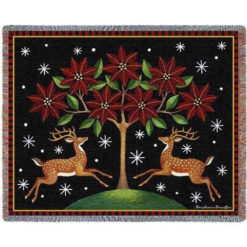 Deer Poinsettia Tapestry Throw Blanket
