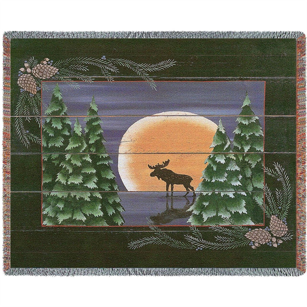 Moonlight Moose Tapestry Throw Blanket
