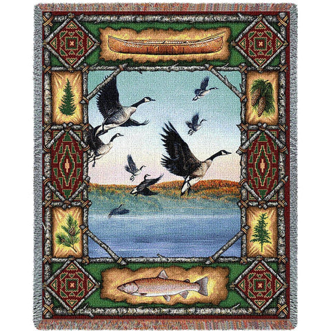 Geese Lodge Tapestry Throw Blanket