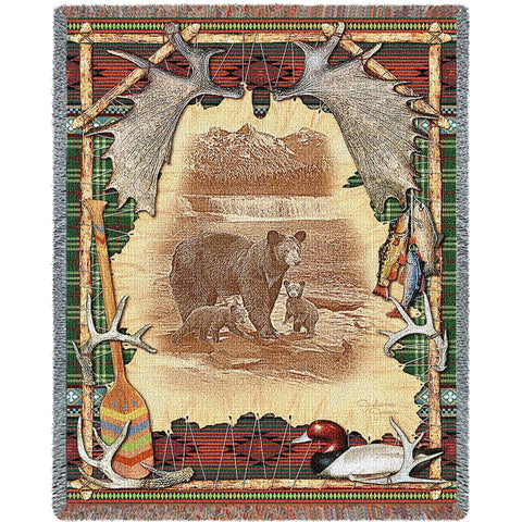 Antler Lodge Tapestry Throw Blanket