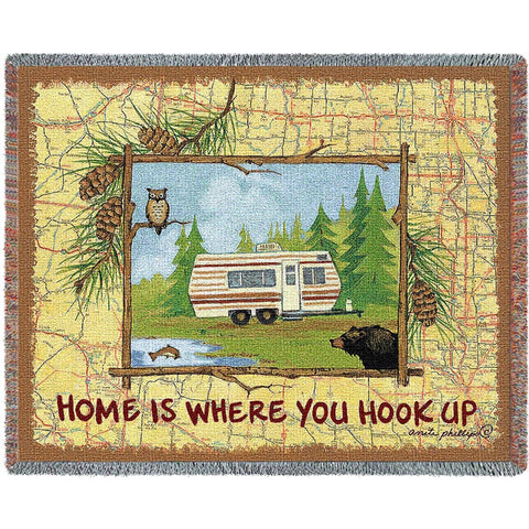 Hook Up Camper Tapestry Throw Blanket