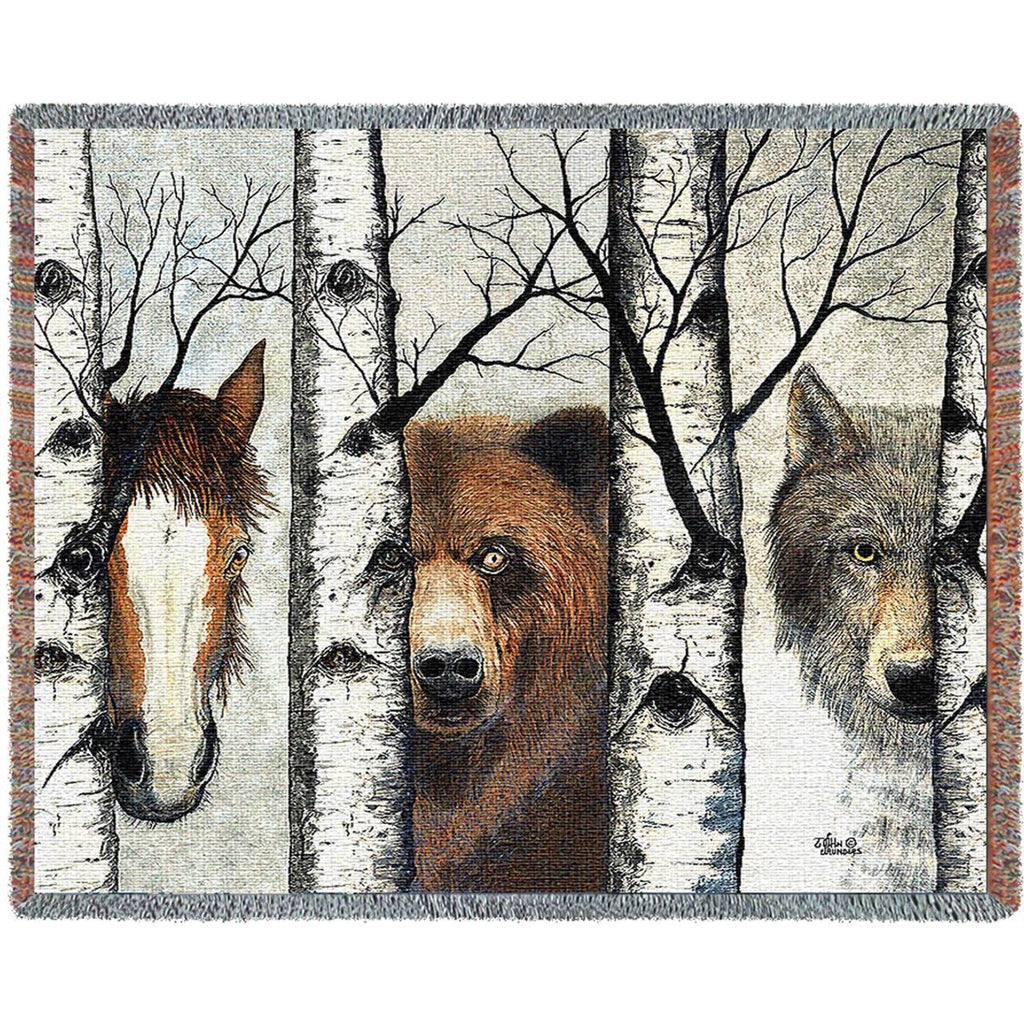 Trio Horse Bear Wolf Tapestry Throw Blanket