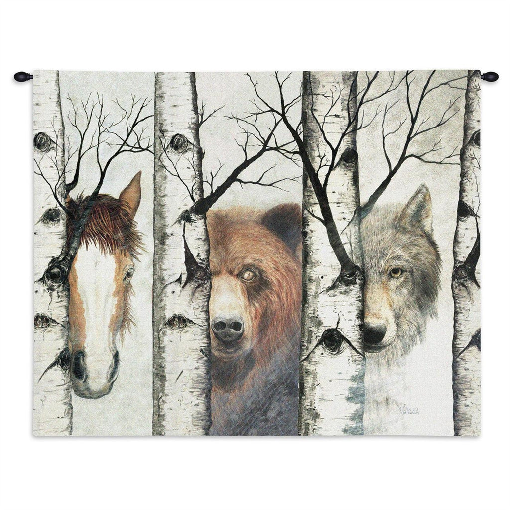 Trio Horse Bear Wolf Tapestry Wall Hanging