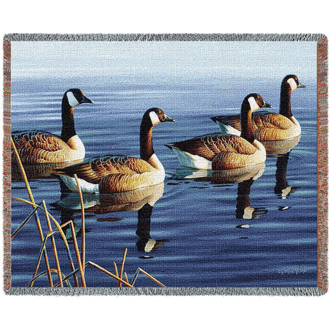 Afternoon Procession Canada Goose Tapestry Throw Blanket