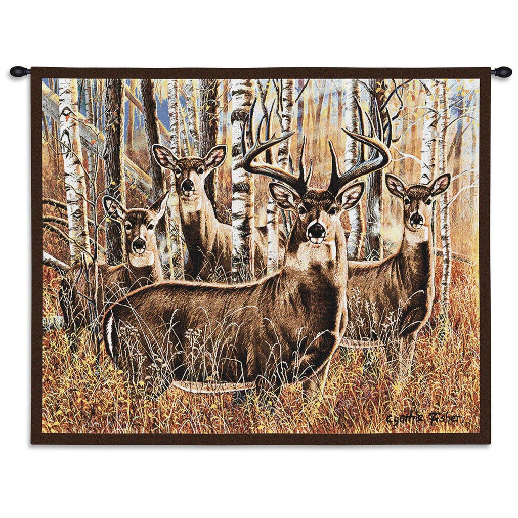 Sudden Encounter Deer Tapestry Wall Hanging
