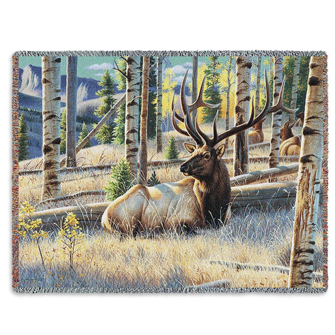 Morning View Elk Tapestry Throw Blanket