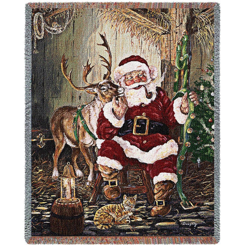 Time To Go Santa Tapestry Throw Blanket