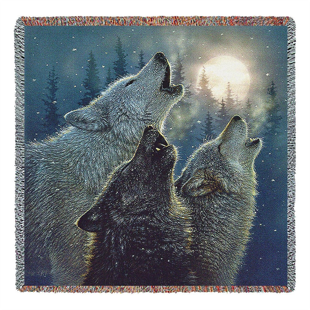 In Harmony Wolf Tapestry Throw Blanket