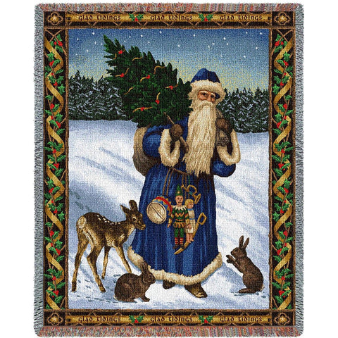 Father Christmas Blue Tapestry Throw Blanket