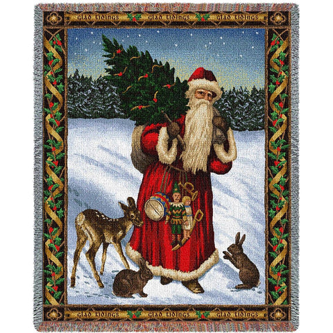 Father Christmas Red Tapestry Throw Blanket