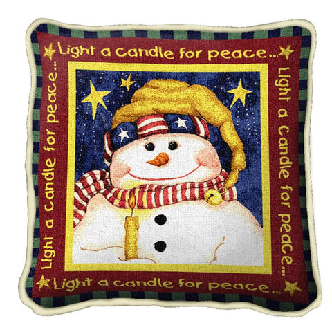 Light A Candle For Peace Tapestry Pillow