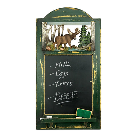 Moose Chalkboard with Hooks
