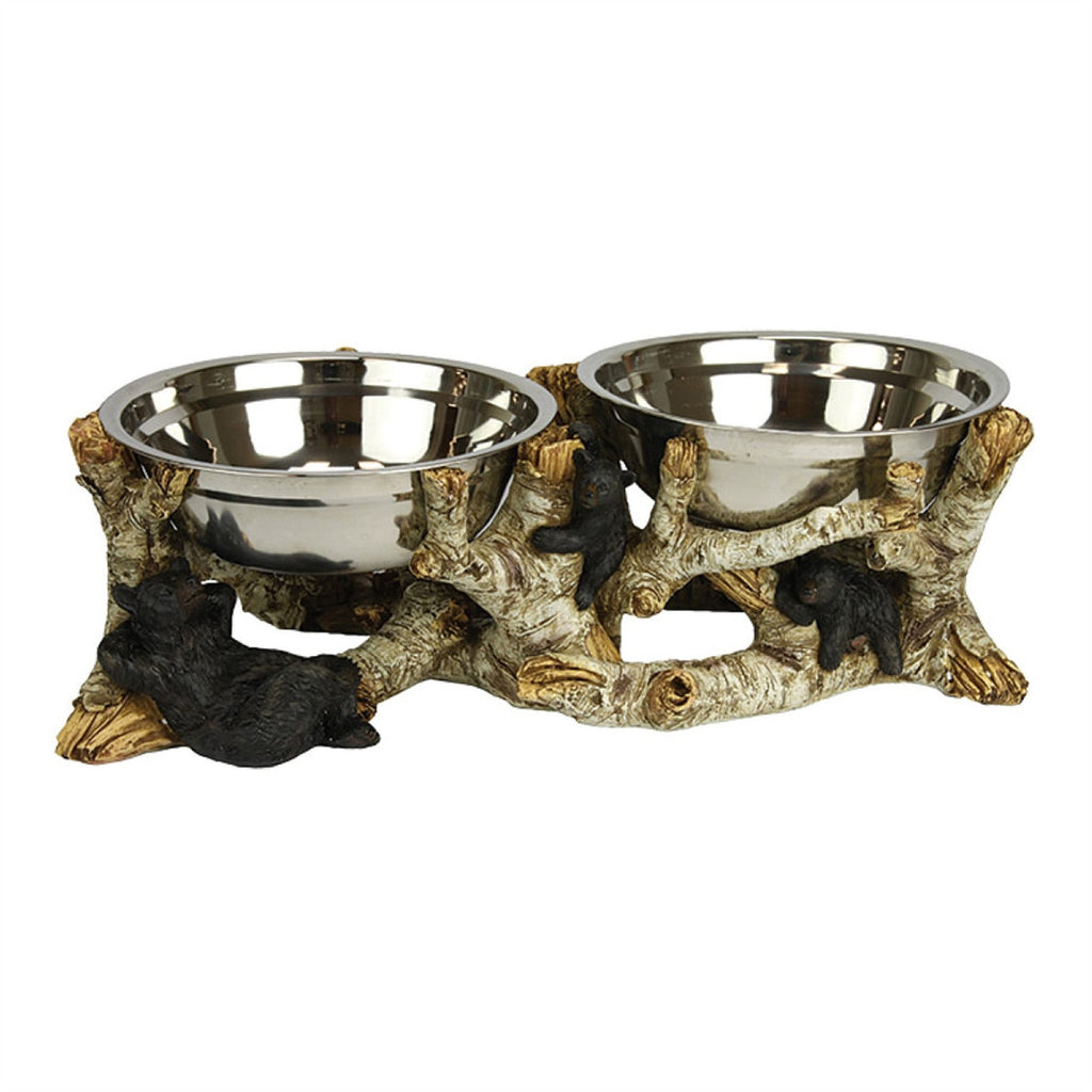 Birch Bark Bear Dog Bowl