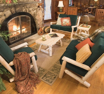 White Cedar Log Arm Chair