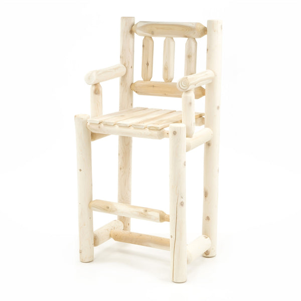 White Cedar Log Bar Stool with Back