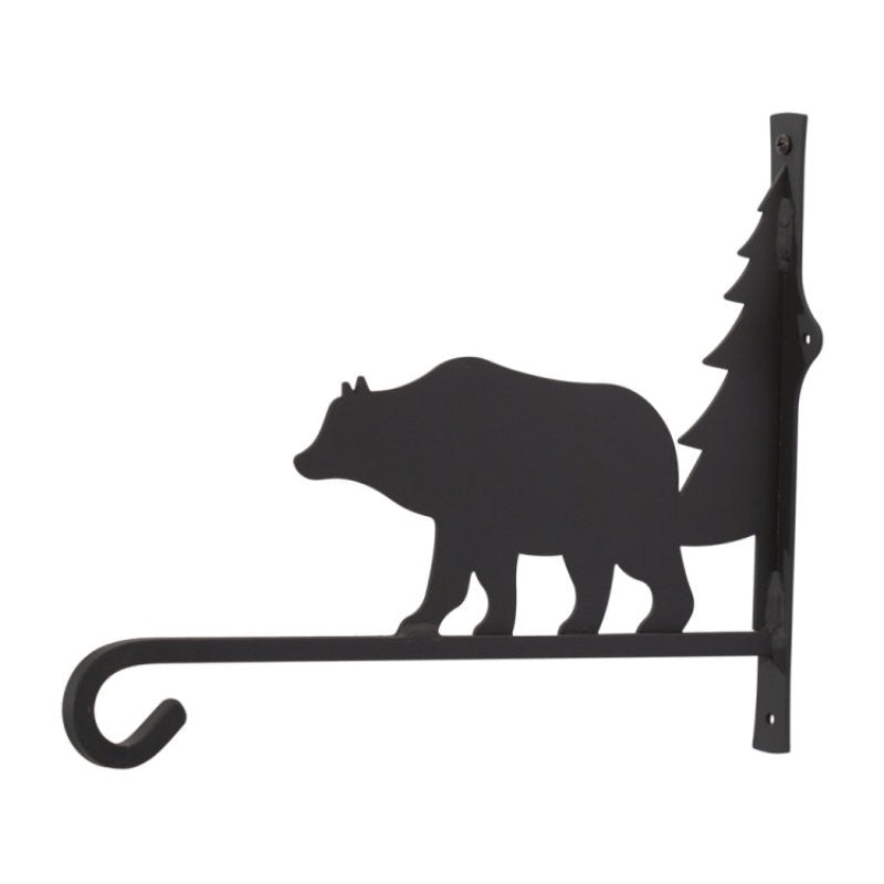 Wrought Iron Bear & Tree Plant Hanger 12""