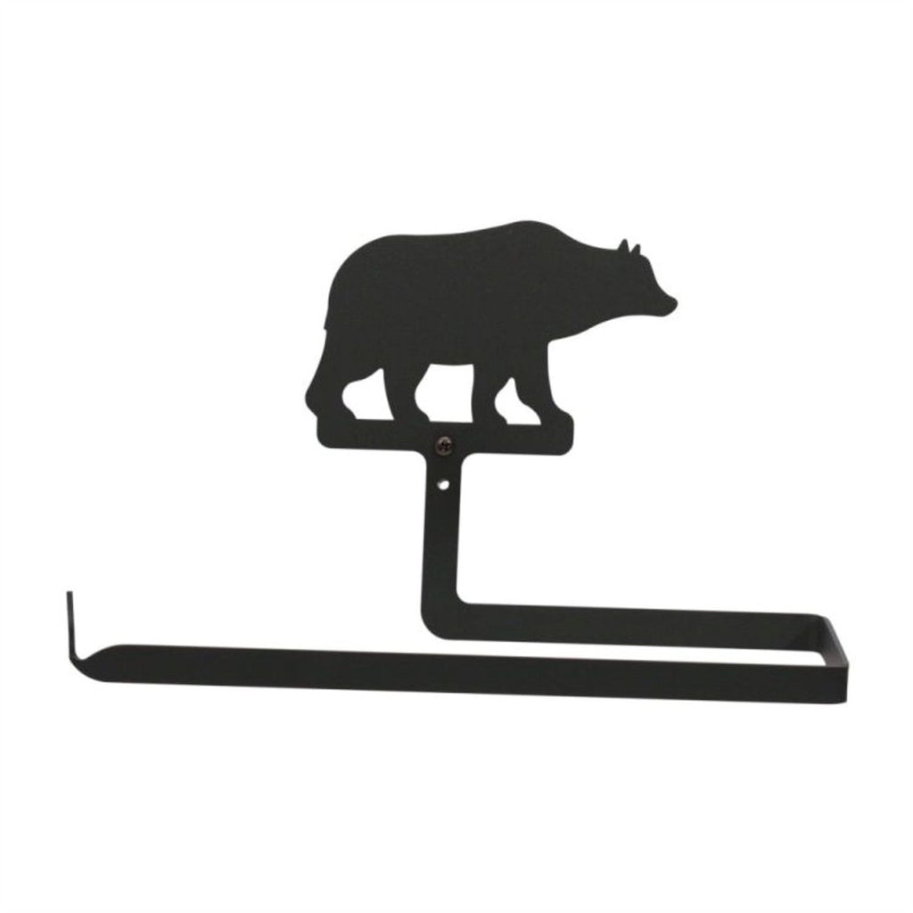 Wrought Iron Bear Paper Towel Holder Horizontal Wall Mount