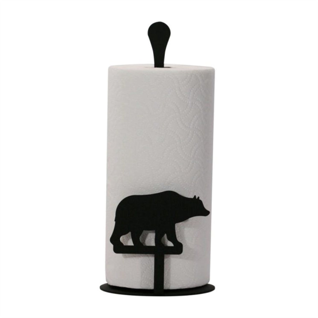 Wrought Iron Bear Paper Towel Stand
