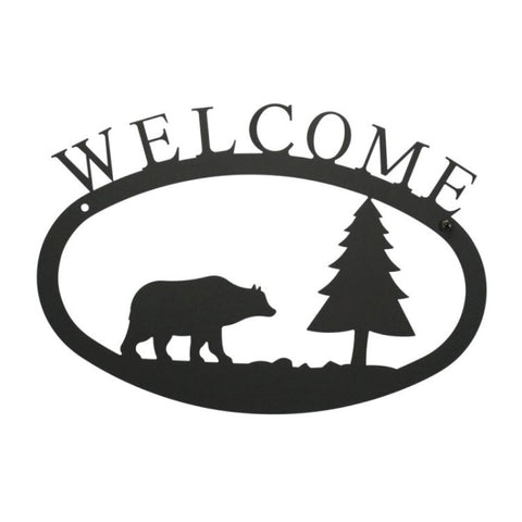 Wrought Iron Bear & Pine Welcome Sign